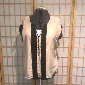 NY&CO beige blouse with black ruching detail